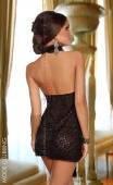 Mini-robe noire à décolleté goutte Lavanya