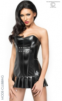 Mini-robe corset noire en simili-cuir