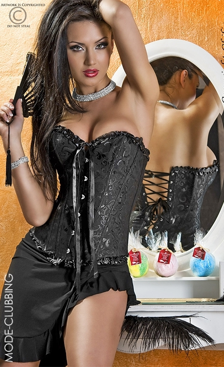 Corset noir à motifs floraux et dos lacé