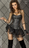 Corset noir simili-cuir à bretelles