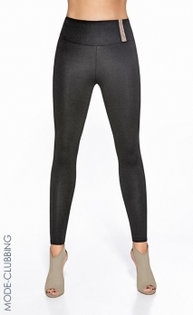 Leggings noirs satinés à strass Cornelia