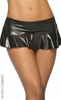 Micro jupe noire wet-look