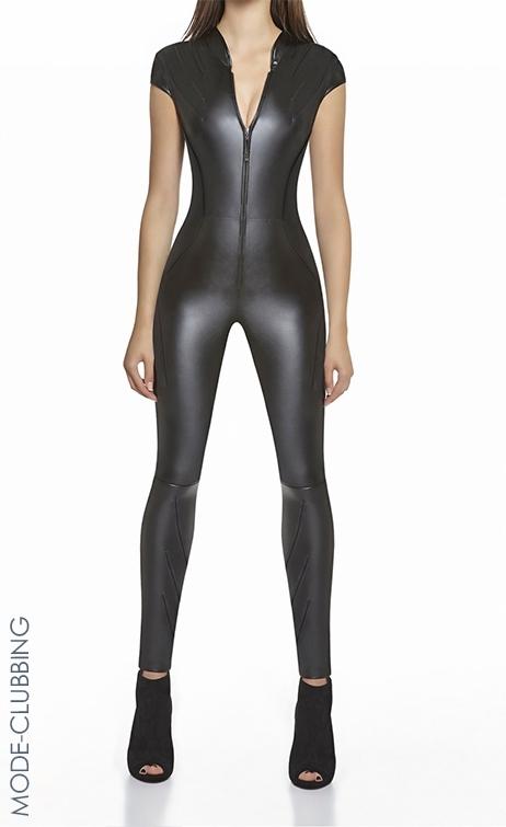 Combinaison noire en simili-cuir Enya