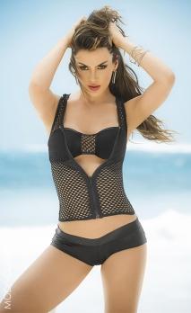 Ensemble 3 pièces bikini et gilet résille noire