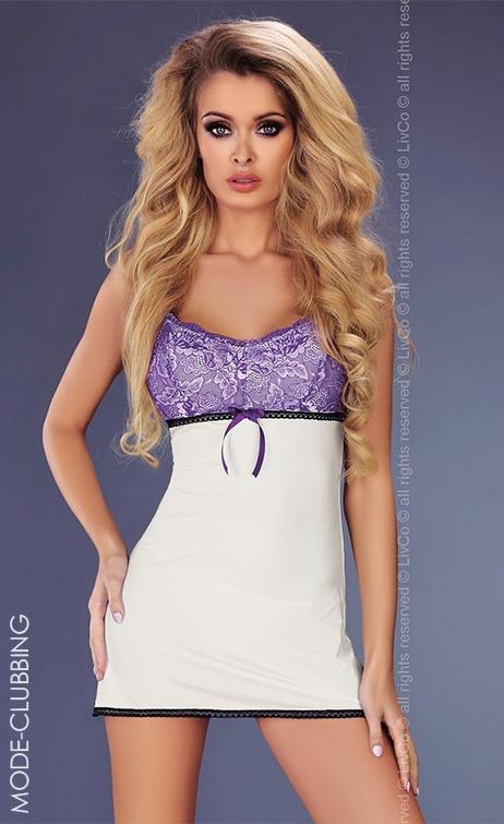 nuisette blanche dentelle violette amaris mode clubbing. Black Bedroom Furniture Sets. Home Design Ideas