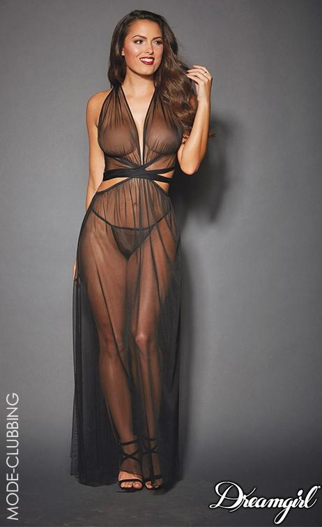 Robe / Nuisette noire translucide