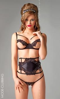 Ensemble noir seins-nus à lanières Valentina