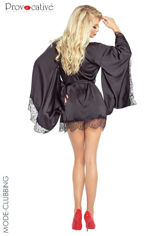 Kimono noir et string pr votre plus grand plaisir des yeux - 1 6
