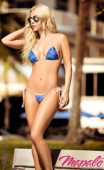 Bikini bleu à lanières, imprimé hibiscus