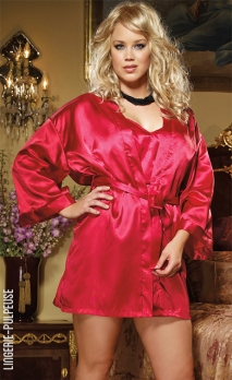 Nuisette rouge satinée et son déshabillé-kimono DREAMGIRL