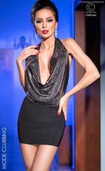 Mini-robe noire et lurex dos-nu