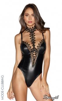 Body string simili-cuir noir et dentelle de Venise