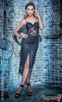 Ensemble noir body dentelle et jupe taille haute