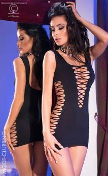 Mini robe noire stretch lacée