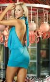 Robe turquoise drapée à dos-nu