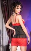Nuisette voile noir et dentelle rouge à seins-nus