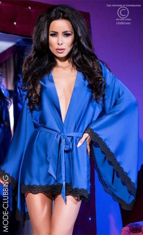 Kimono en maille bleue satinée et dentelle noire
