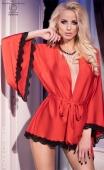 Kimono en maille rouge satinée et dentelle noire