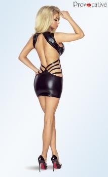 Mini robe noire wet-look à dos-nu