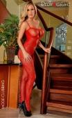 Combinaison bodystocking rouge